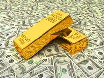 Barras de oro en dólares Foto de archivo libre de regalías