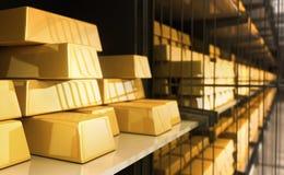 Barras de oro en el banco Foto de archivo libre de regalías