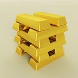 Barras de oro en un fondo blanco Fotos de archivo libres de regalías