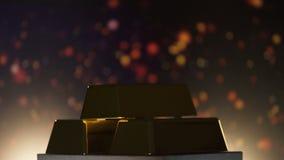 Barras de oro que giran contra el fondo chispeante, reserva de banco, renta activa almacen de metraje de vídeo