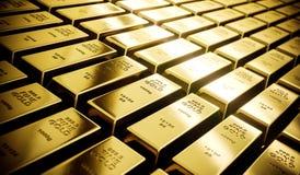 Barras de ouro de brilho do mistério na classificação da cor do olhar do filme Imagem de Stock