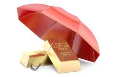 Barras de ouro com guarda-chuva, seguro financeiro e stabil do negócio Fotos de Stock