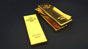 Barras de ouro em fundos pretos Imagem de Stock