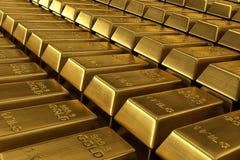 Barras de ouro empilhadas Foto de Stock