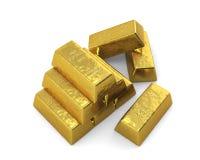 Barras de ouro empilhadas, parte superior. Imagens de Stock Royalty Free