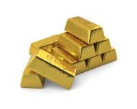 Barras de ouro empilhadas, traseiras Fotografia de Stock Royalty Free