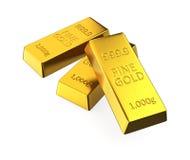 Barras de ouro isoladas no fundo branco Fotos de Stock