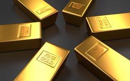 Barras de ouro, lingote em fundos pretos Fotografia de Stock Royalty Free