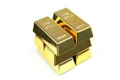 Barras de ouro no fundo branco Imagens de Stock