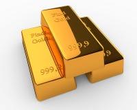 Barras de ouro no fundo branco Foto de Stock