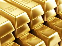 Barras de ouro nos raws Fotografia de Stock Royalty Free