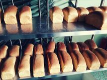 Barras de pan cocidas frescas en la panadería vieja de Malasia Fotografía de archivo