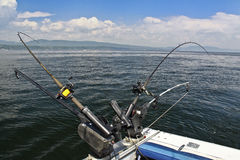 Barras de pesca de Downrigger - lago Champlain Fotografía de archivo