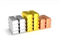 Barras de plata del cobre del oro del podio del ganador apiladas Imagen de archivo