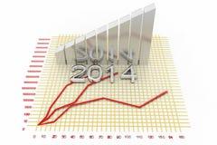 Barras de prata do crescimento do negócio com texto 2014 Fotografia de Stock Royalty Free