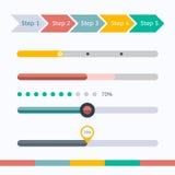 Barras de progreso planas del diseño web fijadas Ilustración del vector Imágenes de archivo libres de regalías