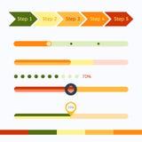 Barras de progreso planas del diseño web fijadas Ilustración del vector Fotos de archivo