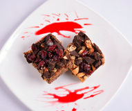 Barras do bolo de chocolate Fotografia de Stock Royalty Free