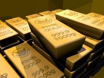 Barras do lingote de ouro Imagens de Stock