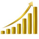 Barras douradas do gráfico Foto de Stock
