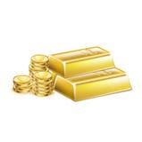 Barras douradas empilhadas e moedas douradas ilustração do vetor