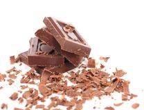 Barras e rapagem de chocolate Imagens de Stock