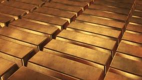 Barras empiladas del lingote de oro almacen de video