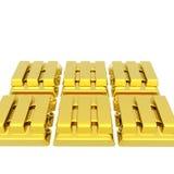 Barras empiladas del lingote de oro en un blanco stock de ilustración