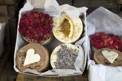 Barras handmade naturais, nontoxic do sabão foto de stock