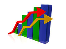 Barras translúcidas de la estadística y dos flechas libre illustration