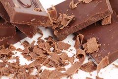 Barras y el afeitar de chocolate Imágenes de archivo libres de regalías