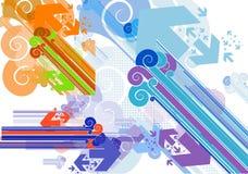 Barras y flechas de las diagonales en el estilo retro blanco Imagen de archivo libre de regalías