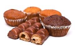 Barras y molletes de chocolate imagen de archivo libre de regalías