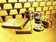 Barras y monedas de oro de la moneda del dólar Imágenes de archivo libres de regalías