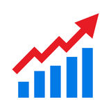 Barre crescenti grafiche con la freccia in aumento Immagine Stock