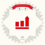 Barre crescenti grafiche con la freccia in aumento icona Immagini Stock Libere da Diritti