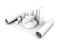 Barre d'affaires et graphique de tarte sur un rouleau de papier de feuille Image stock