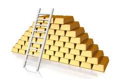 Barre d'or, d'or, argent, échelle, opérations bancaires, 3D, pile, trésor, diminution Images stock