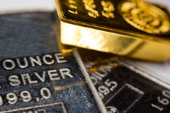 Barre d'or, d'argent et de palladium Photos libres de droits