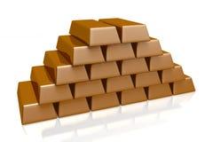 Barre d'or, d'or, argent, opérations bancaires, 3D, pile, trésor, diminution Images stock