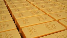 Barre d'or d'isolement sur le fond blanc Images libres de droits