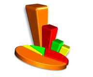 barre 3D et graphique circulaire Photographie stock libre de droits
