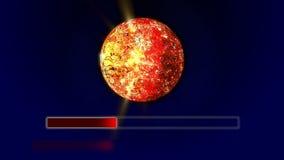 Barre de chargement rouge déplaçant de 0 à 100 avec une étoile tournante d'énergie illustration stock