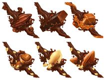 Barre de chocolat, écrous, caramel, graine de cacao dans l'éclaboussure de chocolat illustration de vecteur