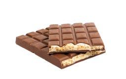 Barre de chocolat avec le remplissage de yaourt image stock