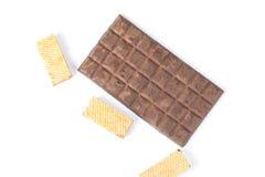 Barre de chocolat foncée de biscuit de gaufrette Images libres de droits