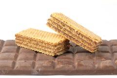 Barre de chocolat foncée de biscuit de gaufrette Photographie stock