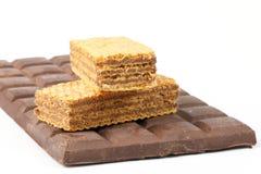 Barre de chocolat foncée de biscuit de gaufrette Image libre de droits