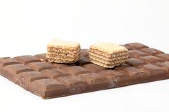 Barre de chocolat foncée de biscuit de gaufrette Photo stock