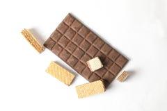 Barre de chocolat foncée de biscuit de gaufrette Image stock